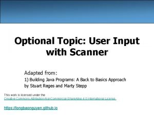 Optional Topic User Input with Scanner Adapted from