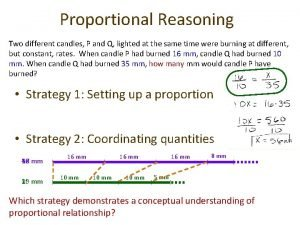 Proportional Reasoning Two different candles P and Q