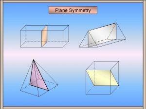 Plane Symmetry Plane Symmetry A plane of symmetry