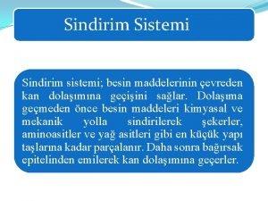 Sindirim Sistemi Sindirim sistemi besin maddelerinin evreden kan