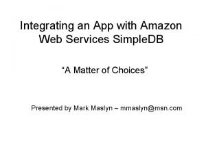 Integrating an App with Amazon Web Services Simple