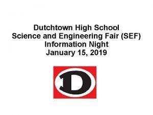 Dutchtown High School Science and Engineering Fair SEF