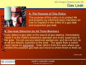 600 Emergency Response Guide 658 Gas Leak EMERGENCY