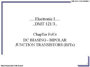DMT 1213 ELECTRONIC I Electronic I DMT 1213