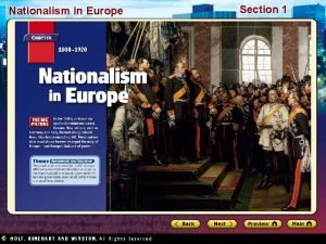 Nationalism in Europe Section 1 Nationalism in Europe
