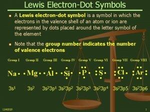 Lewis ElectronDot Symbols n n A Lewis electrondot