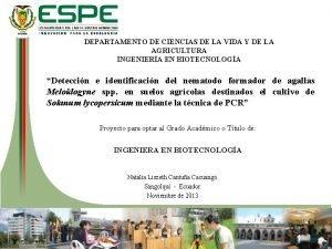DEPARTAMENTO DE CIENCIAS DE LA VIDA Y DE