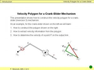 Velocity Polygon for a CrankSlider Introduction Velocity Polygon