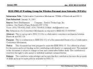 January 2001 doc IEEE 802 15 01025 r
