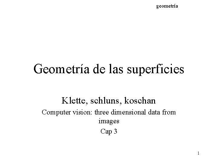 geometra Geometra de las superficies Klette schluns koschan
