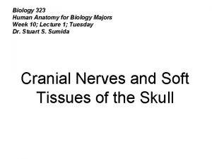 Biology 323 Human Anatomy for Biology Majors Week