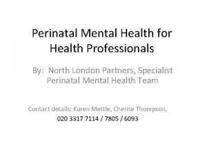 Perinatal Mental Health for Health Professionals By North