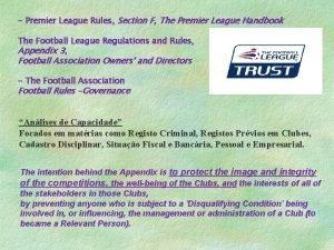 Premier League Rules Section F The Premier League