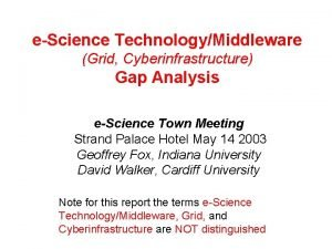 eScience TechnologyMiddleware Grid Cyberinfrastructure Gap Analysis eScience Town