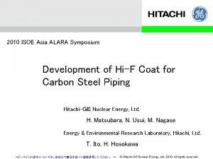 2010 ISOE Asia ALARA Symposium Development of HiF