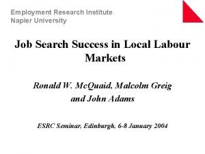 Employment Research Institute Napier University Job Search Success