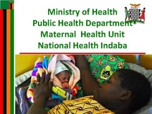 Ministry of Health Public Health Department Maternal Health