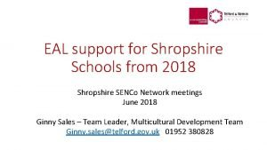 EAL support for Shropshire Schools from 2018 Shropshire