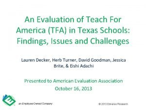 An Evaluation of Teach For America TFA in