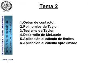 Tema 2 Aproximacin de funciones por polinomios Introduccin