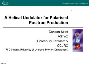 A Helical Undulator for Polarised Positron Production Duncan