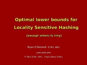 Optimal lower bounds for Locality Sensitive Hashing except