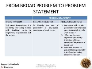 FROM BROAD PROBLEM TO PROBLEM STATEMENT BROAD PROBLEM