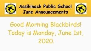 Assikinack Public School June Announcements Good Morning Blackbirds