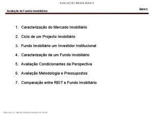 AVALIAO IMOBILIRIA II Avaliao de Fundos Imobilirios 1