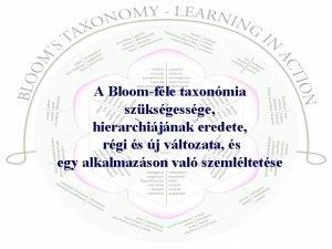 A Bloomfle taxonmia szksgessge hierarchijnak eredete rgi s