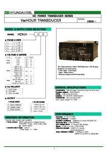 HD POWER TRANSDUCER SERIES Var HOUR TRANSDUCER MODEL