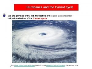 Hurricanes and the Carnot cycle We are going