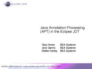 Java Annotation Processing APT in the Eclipse JDT