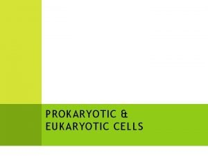 PROKARYOTIC EUKARYOTIC CELLS As you have already learned