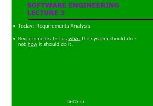 SOFTWARE ENGINEERING LECTURE 3 Today Requirements Analysis Requirements