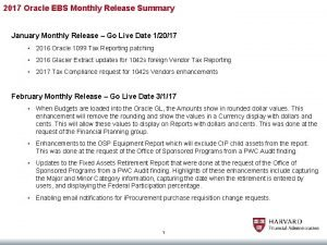 2017 Oracle EBS Monthly Release Summary January Monthly