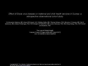 Effect of Ebola virus disease on maternal and