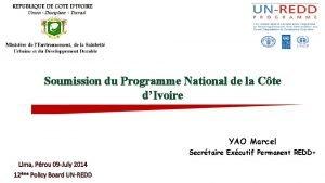 Soumission du Programme National de la Cte dIvoire