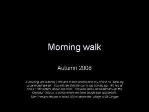 Morning walk Autumn 2008 A morning last autumn