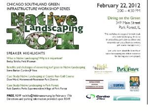 Native Landscaping 101 Native Landscaping 101 Green Infrastructure