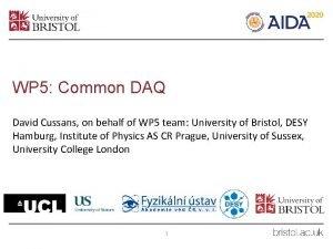 WP 5 Common DAQ David Cussans on behalf