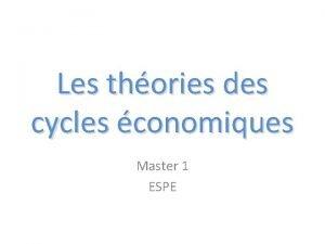 Les thories des cycles conomiques Master 1 ESPE