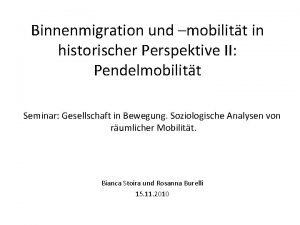 Binnenmigration und mobilitt in historischer Perspektive II Pendelmobilitt