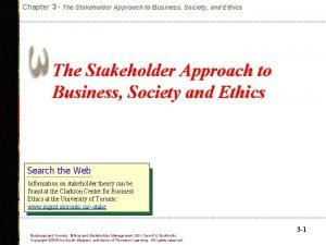 Chapter 3 The Stakeholder Approach to Business Society