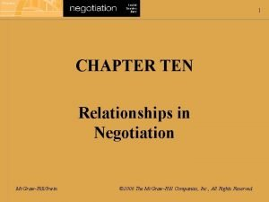 1 CHAPTER TEN Relationships in Negotiation Mc GrawHillIrwin