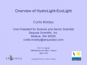 Overview of Hydro LightEco Light Curtis Mobley Vice