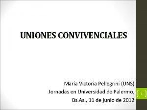 UNIONES CONVIVENCIALES Mara Victoria Pellegrini UNS Jornadas en