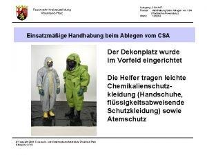 FeuerwehrKreisausbildung RheinlandPfalz Lehrgang CSAAGT Thema Handhabung beim Ablegen