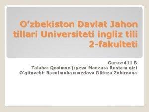 Ozbekiston Davlat Jahon tillari Universiteti ingliz tili 2