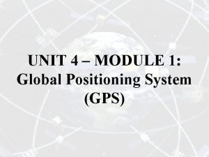 UNIT 4 MODULE 1 Global Positioning System GPS
